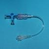 Dreiwegehahn blau, PSU mit 10 cm Leitung, DEHP-frei, 1,5 x 2,7 mm