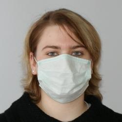 OP-Maske Mundschutz 3-lagig, grün, mit Gummi (50 Stück)