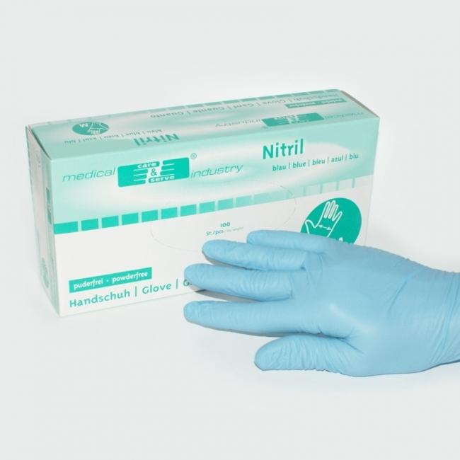 Nitril Handschuhe puderfrei latexfrei blau mittel (100 Stück)